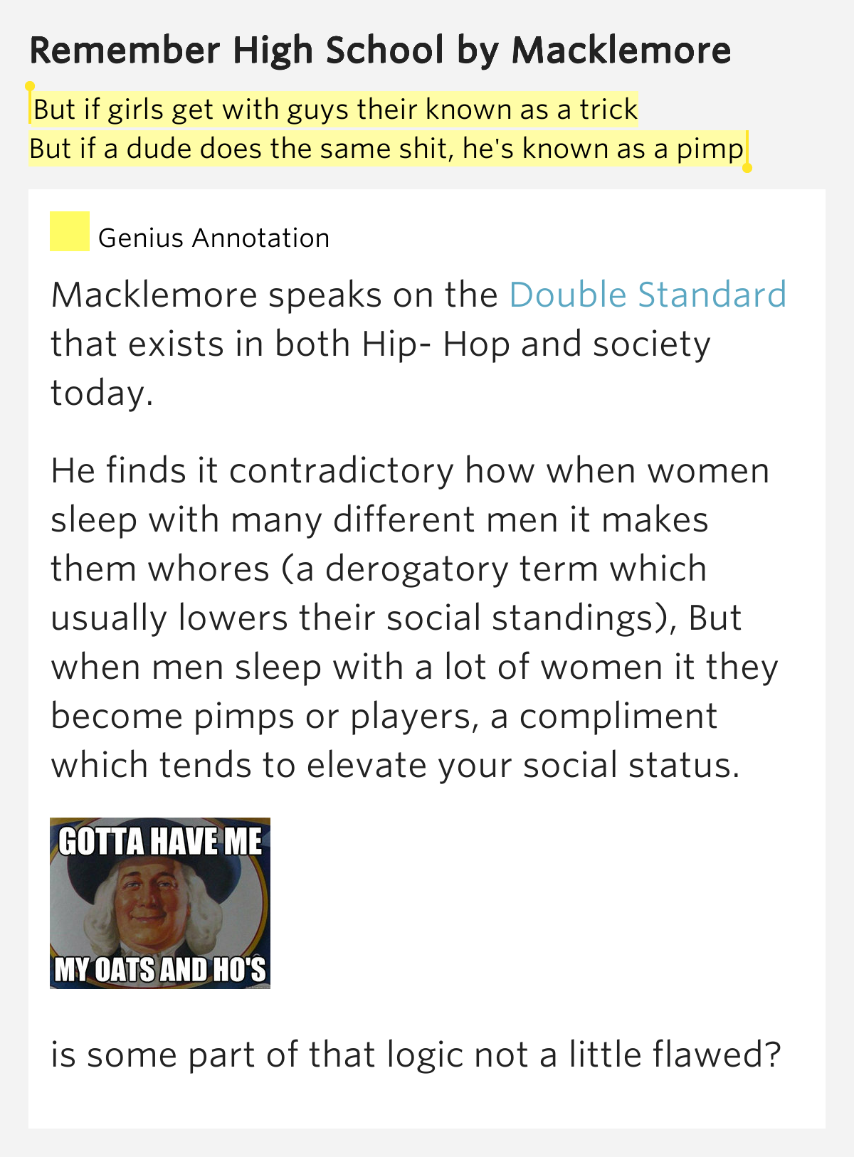 Hip hop lyrics are derogatory toward woman