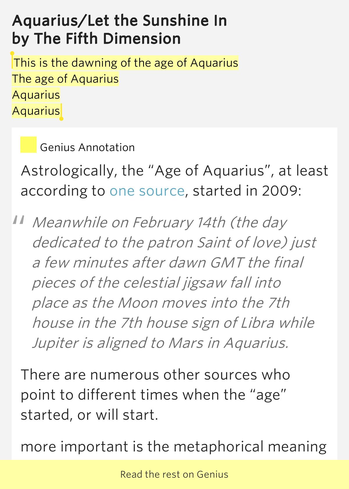 The 5th Dimension - Aquarius Lyrics | MetroLyrics