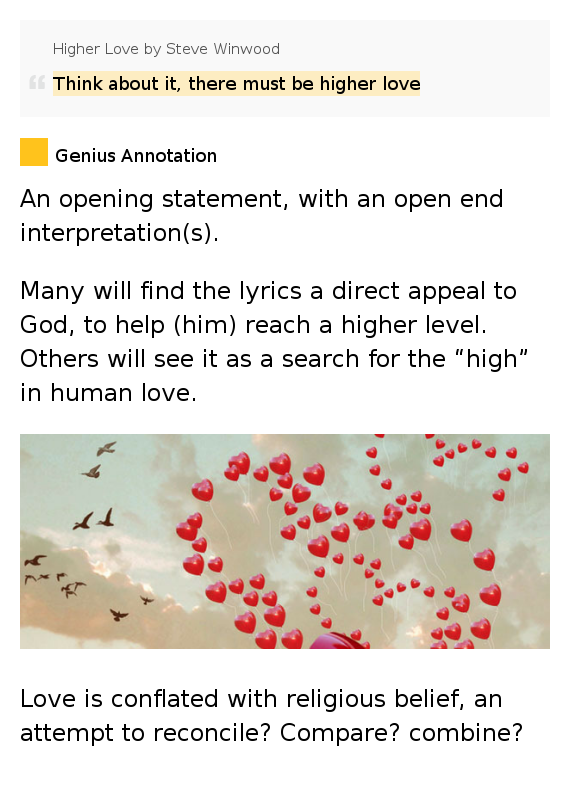 Think about it, there must be higher love – Higher Love