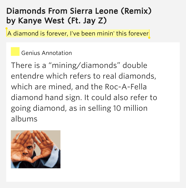 KANYE WEST FEAT. - DIAMONDS (REMIX) LYRICS