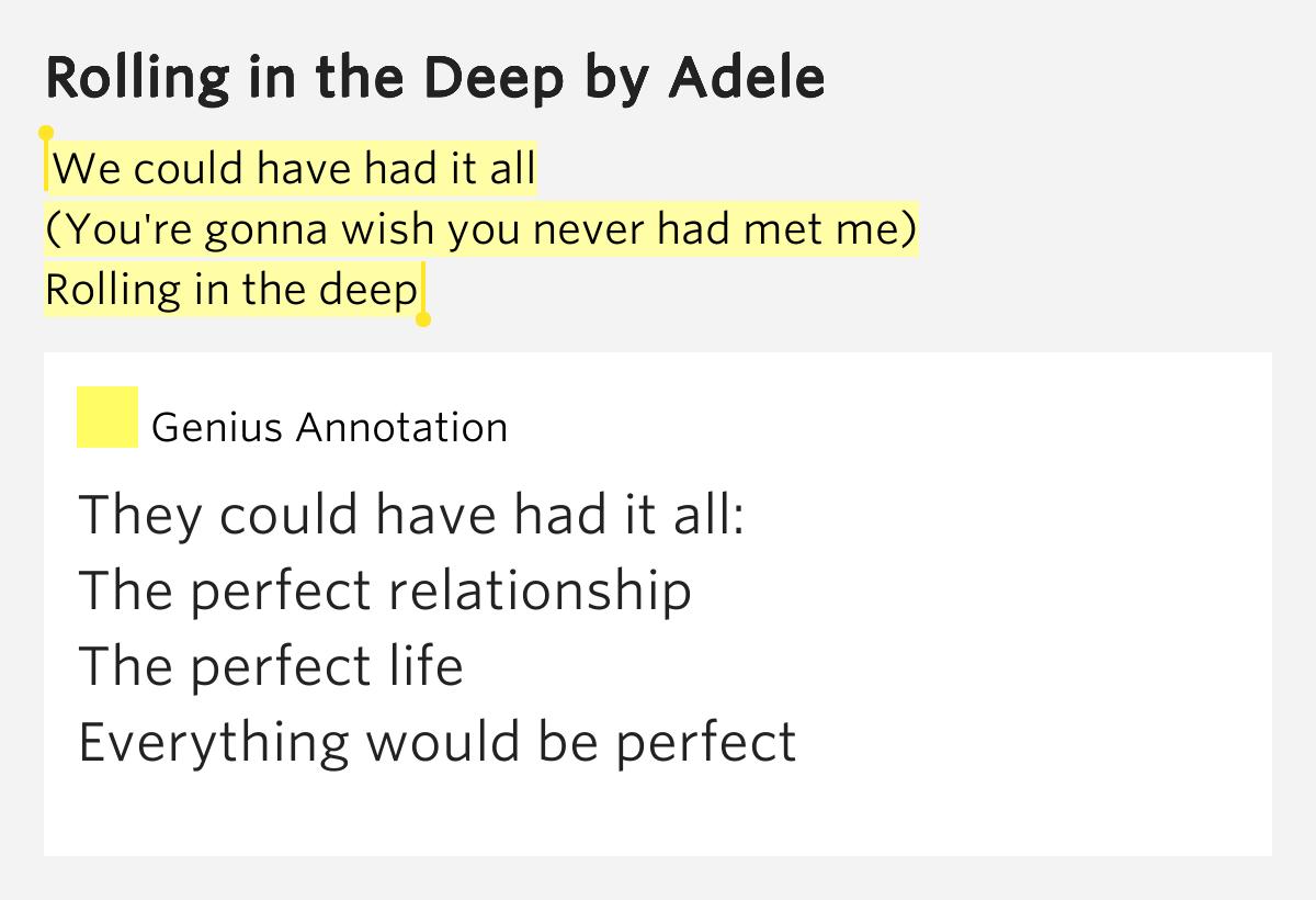 Adele – Rolling in the Deep Lyrics   Genius Lyrics