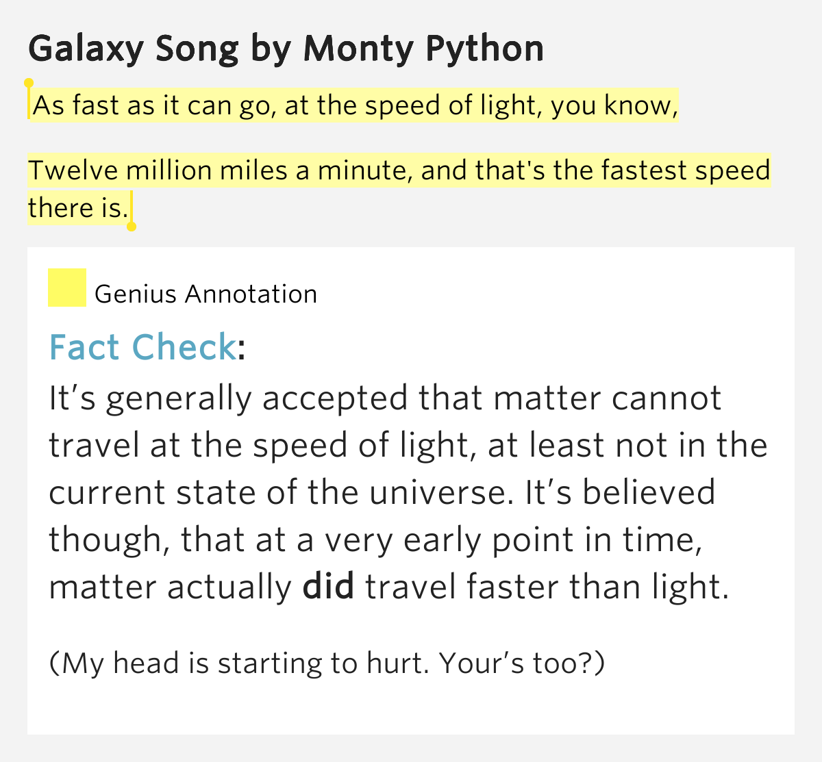 As Fast As It Can Go At The Speed Of Light You