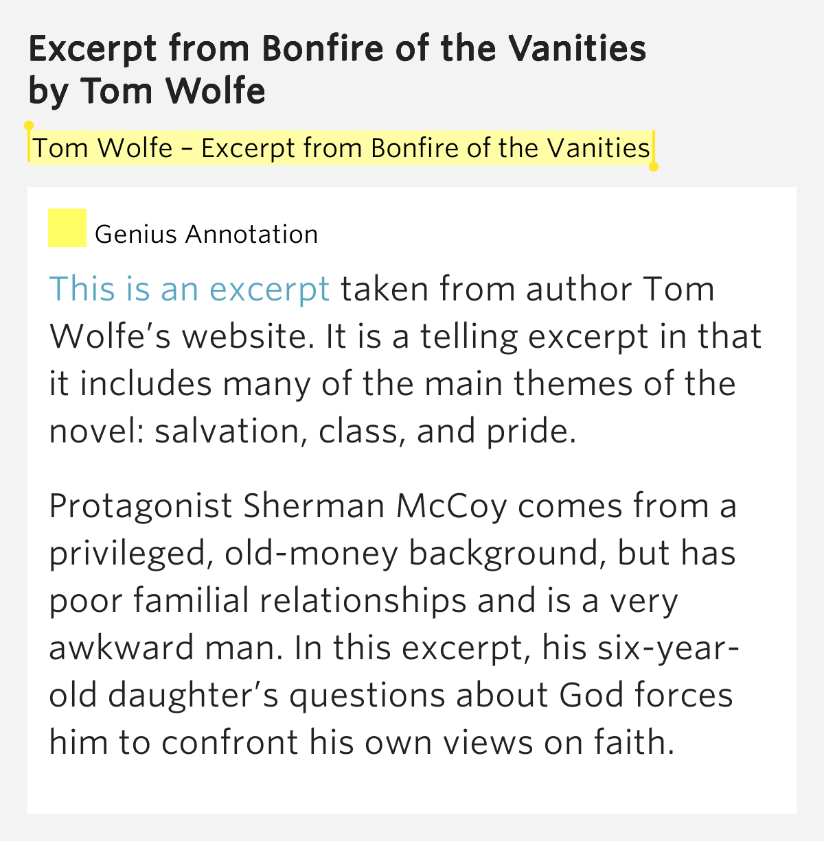 an analysis of tom wolfes book bonfire of the vanities Here, according to the staff at politics & prose, are 11 of the best political books of all time here, according to the staff at politics & prose, are 11 of the best political books of all time menu the bonfire of the vanities, by tom wolfe.
