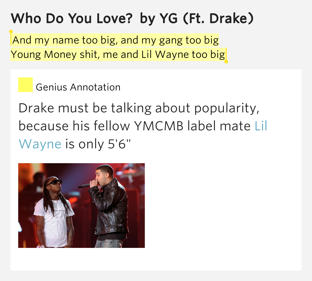 Yg Who Do You Love Lyrics And my name too...