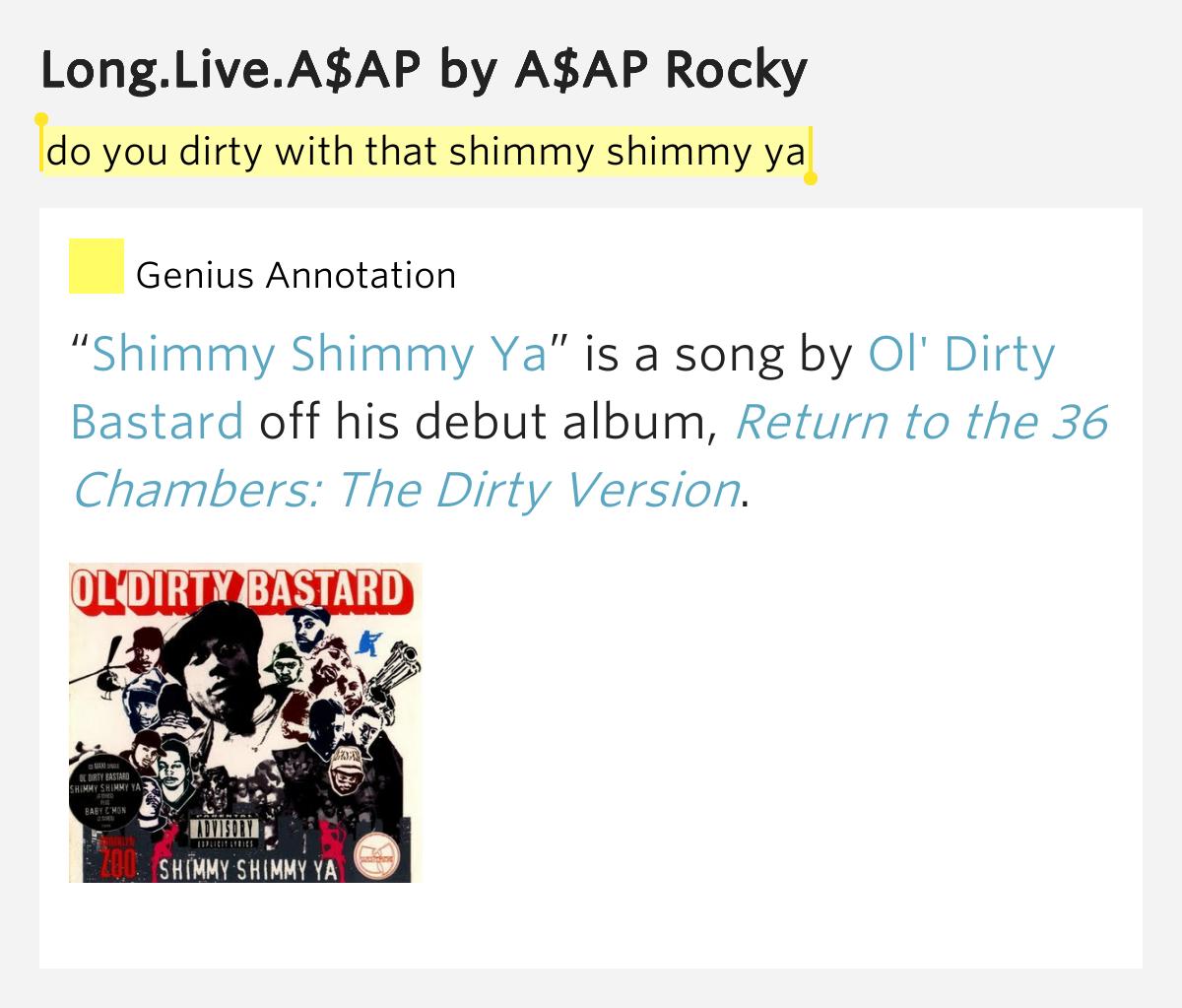 Lyrics containing the term: shimmy