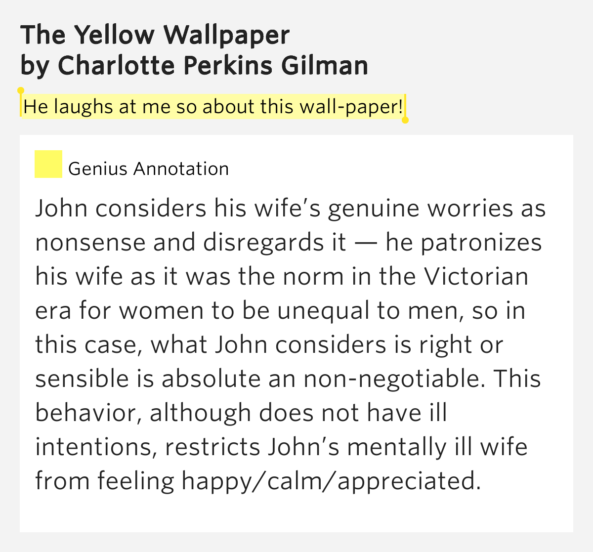 "portrayal of women of the victorian era in the yellow wall paper by charlotte perkins gilman This essay argues that the title figure's portrayal of patrick  and women and economics wrote ""the yellow wall-paper"" answer: charlotte perkins gilman."
