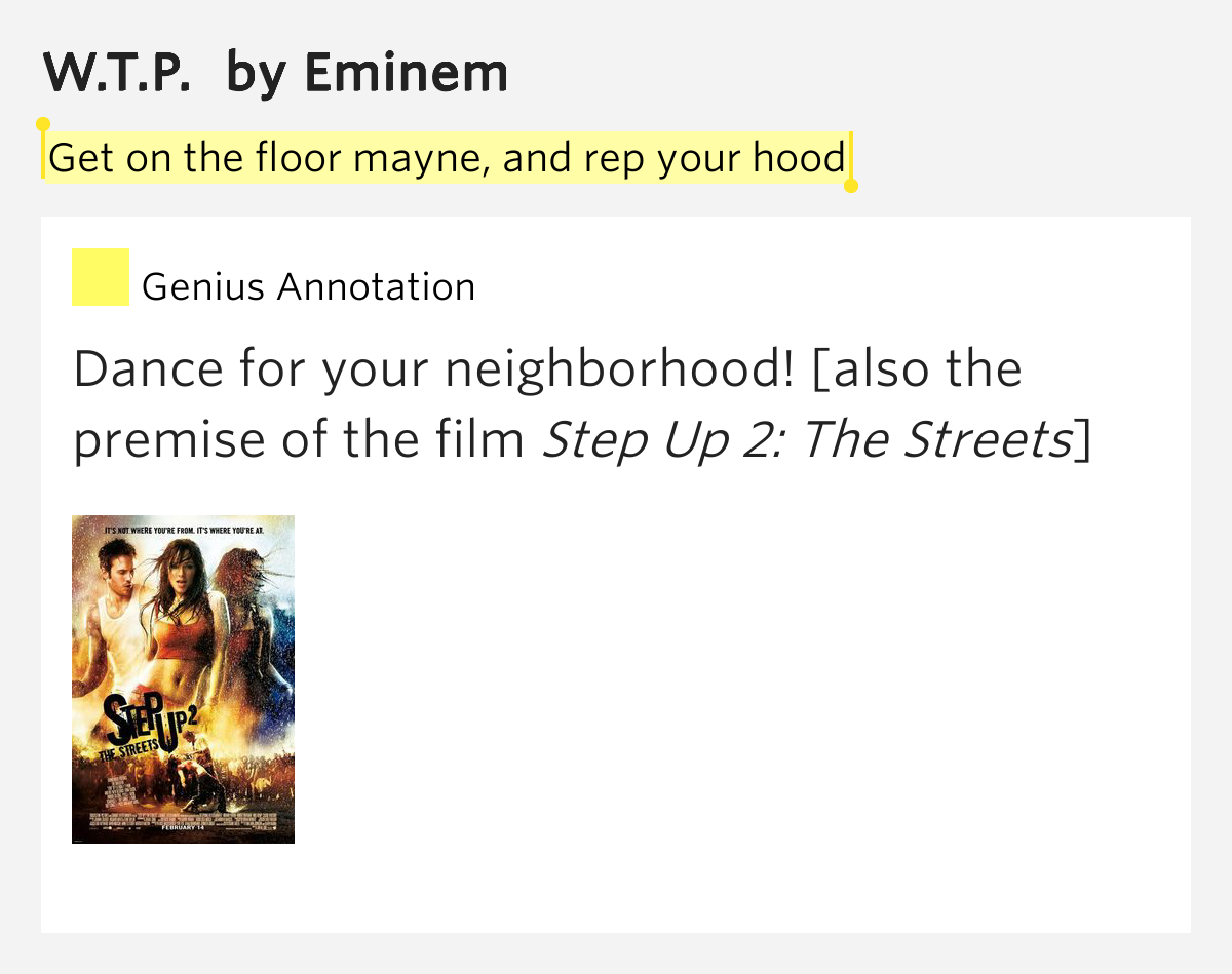 Get on the floor mayne and rep your hood w t p by eminem for 1 2 34 get on the dance floor lyrics