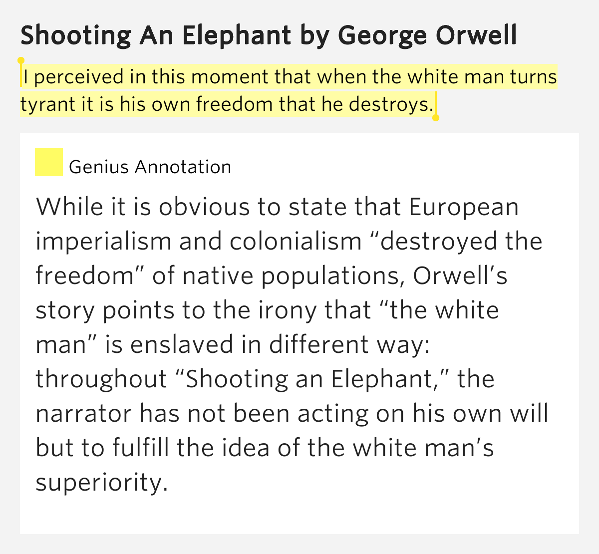 imperialism an irony shooting Shooting an elephant is an essay by english writer george orwell,  the story is regarded as a metaphor for british imperialism, and for orwell's view that when.