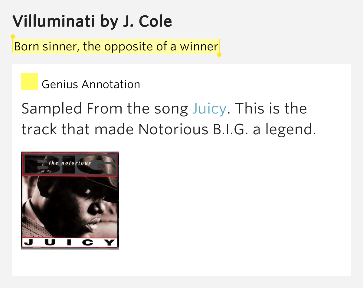 Born sinner, the opposite of a winner – Villuminati by J. Cole