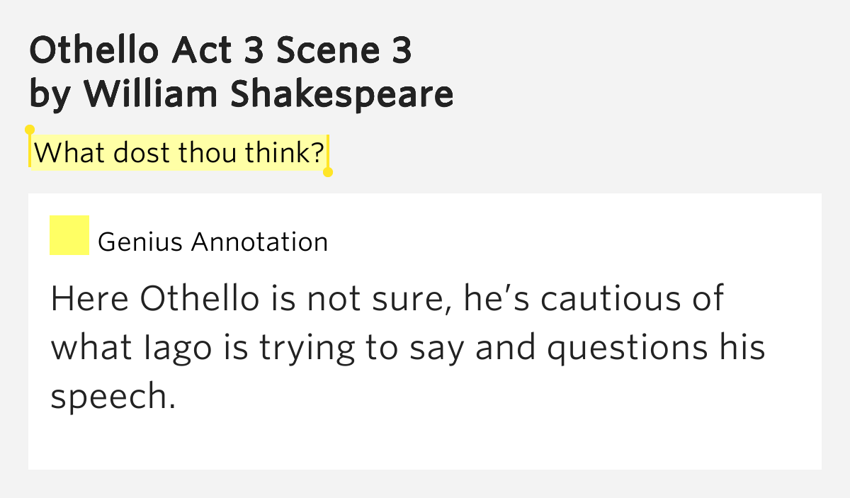 an analysis of act scene in william shakespeares othello Disguised and ready seek revenge on cassio and othello the next act opens  of william shakespeare's othello 2  scene and compare the world of othello.
