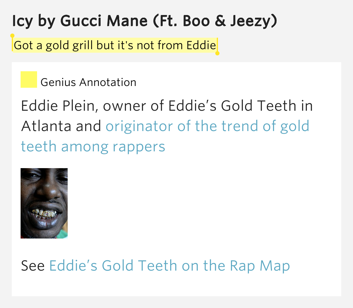 Got a gold grill but it's not from Eddie – Icy Lyrics Meaning