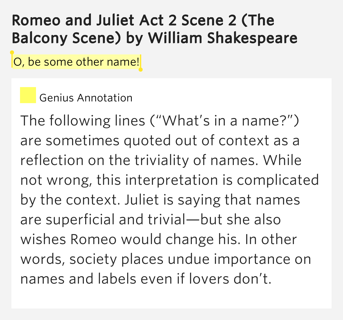 O be some other name romeo and juliet act 2 scene 2 for Other names for balcony