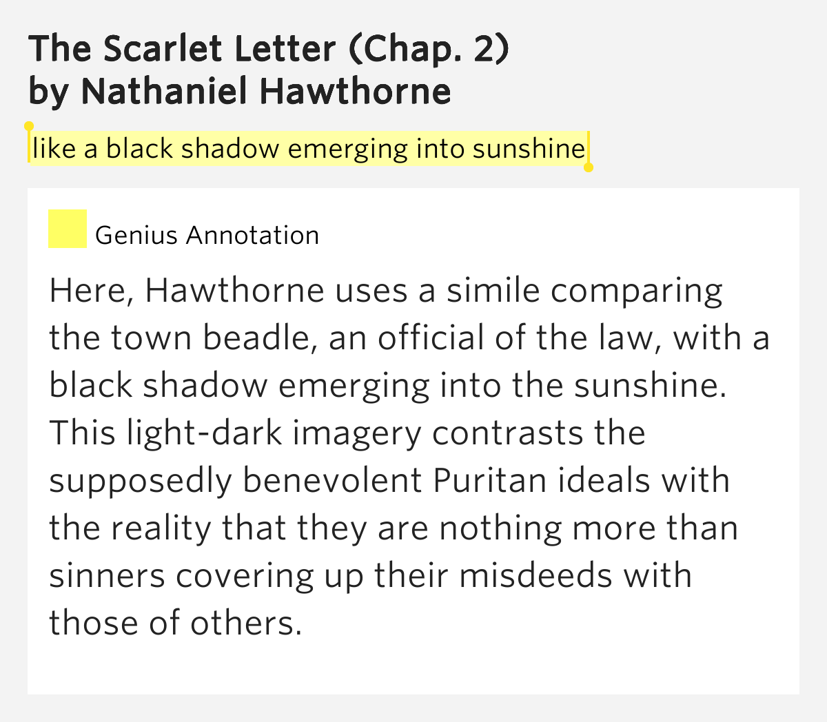 symbolism of sunlight and darkness in nathaniel hawthornes scarlet letter The scarlet letter – by nathaniel hawthorne  symbols central symbol – the letter a  explain the significance of the sunlight imagery 2 when hester .