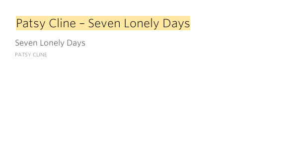 Patsy Cline - Seven Lonely Days (Chords) - Ultimate-Guitar.Com