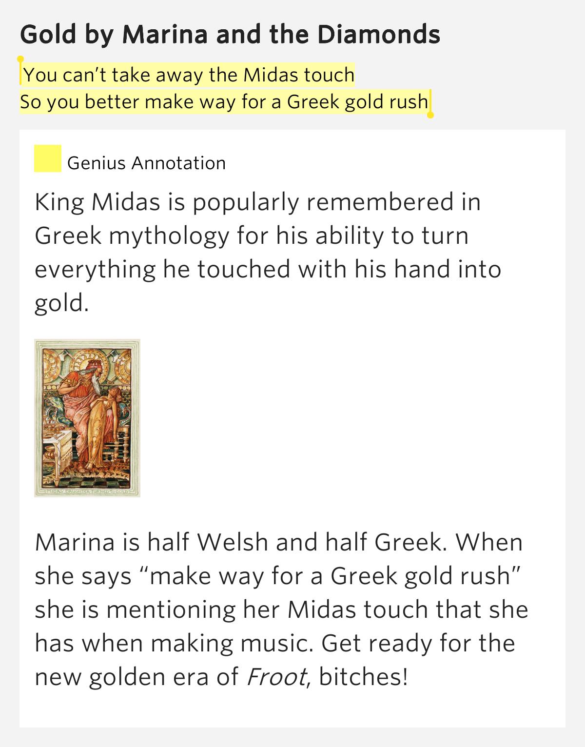 Lyrics containing the term: midas