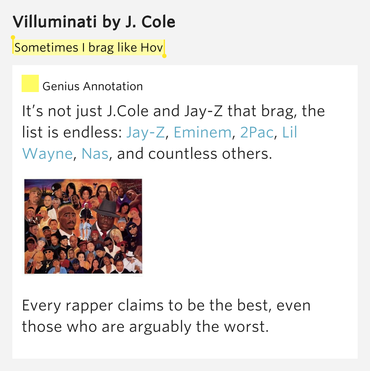 Sometimes I brag like Hov – Villuminati by J. Cole