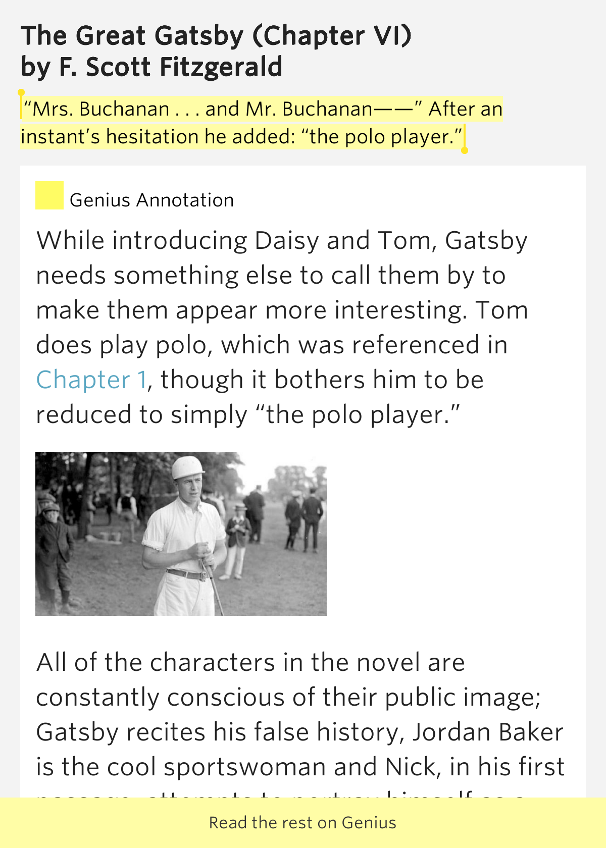 "an analysis of tom buchanan a character from the great gatsby by f scott fitzgerald F scott fitzgerald proclaimed his distaste for jews with his clichéd portrait   great gatsby,' "" he wrote, ""is easily its most obnoxious character  since the  gangster's name remains wolfsheim and tom [buchanan]  analysis."