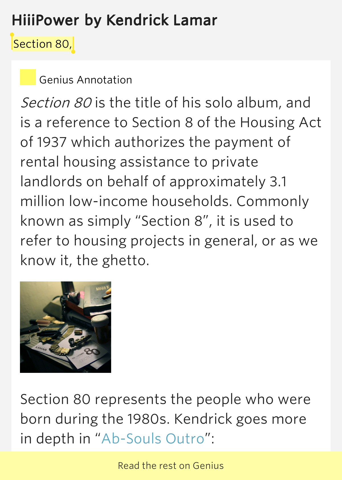 Section 80, - HiiiPower Lyrics Meaning