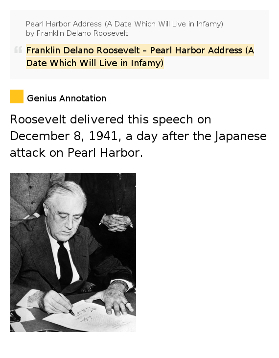 the theme of infamy in president franklin delano roosevelts speech on the pearl harbor attack Today is the 68th anniversary of the japanese attack on pearl harbor, the event which brought the united states into world war ii president franklin roosevelt's speech to congress and the nation.