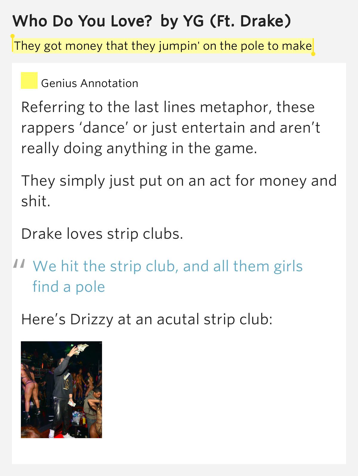 Yg Who Do You Love Lyrics They got money ...