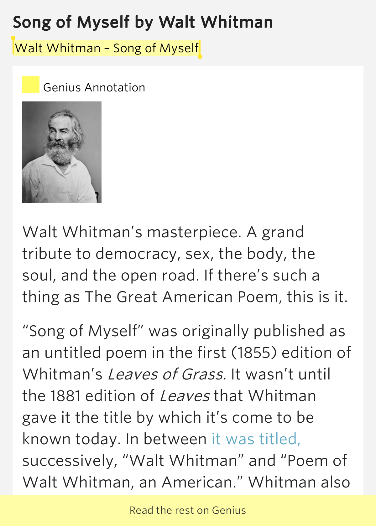 an analysis of the sexuality in walt whitmans poems song of myself and leaves of grass In song of myself, walt whitman celebrates the self the speaker of the poem (the i) speaks not just for himself but for all mankind, praising the joy and wonder of experiencing nature he enjoys the union of his physical and spiritual selves in this 52-part long poem, whitman celebrates the.