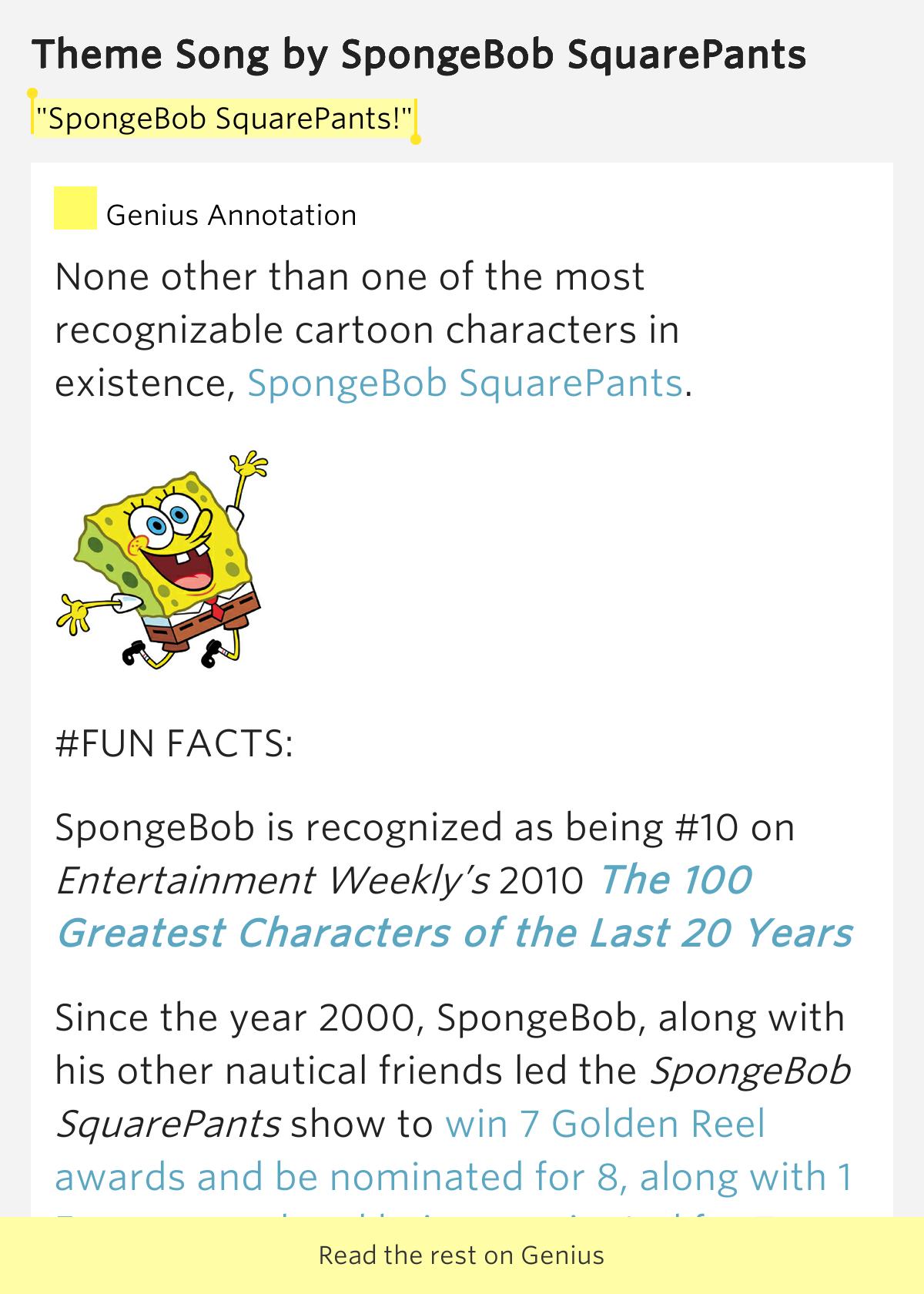 """SpongeBob SquarePants!"" – Theme Song by SpongeBob SquarePants"