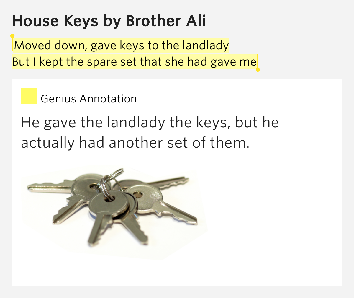 Brother Ali Quotes: Moved Down, Gave Keys To The Landlady / But I Kept