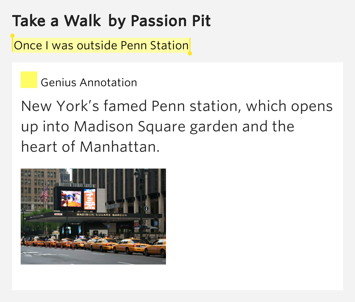 Once I Was Outside Penn Station Take A Walk By Passion Pit