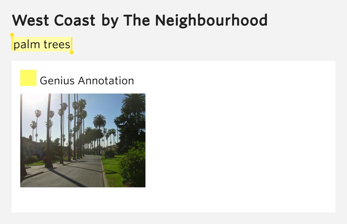 Palm trees – West Coast by The Neighbourhood