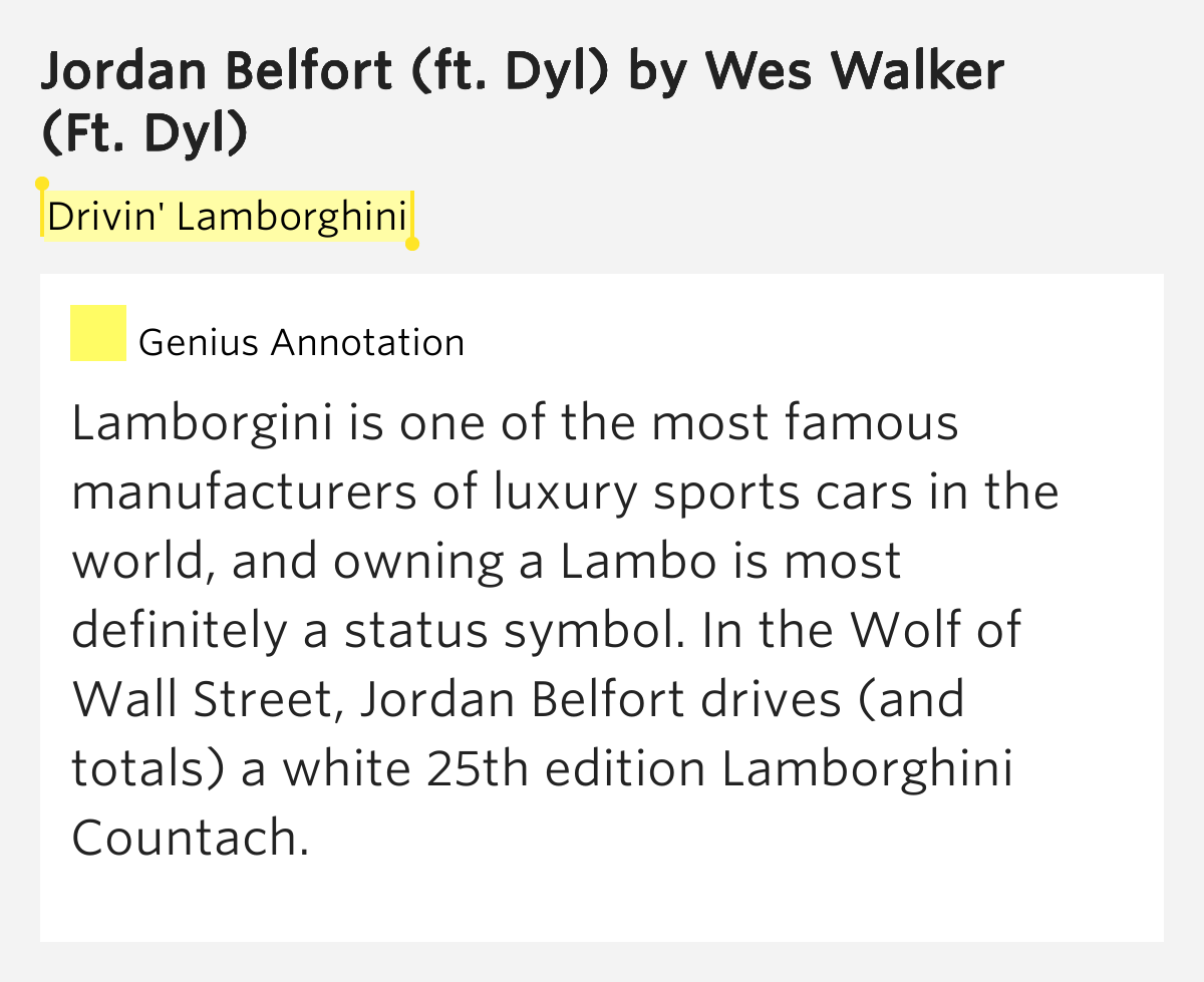 drivin 39 lamborghini jordan belfort ft dyl by wes walker. Black Bedroom Furniture Sets. Home Design Ideas
