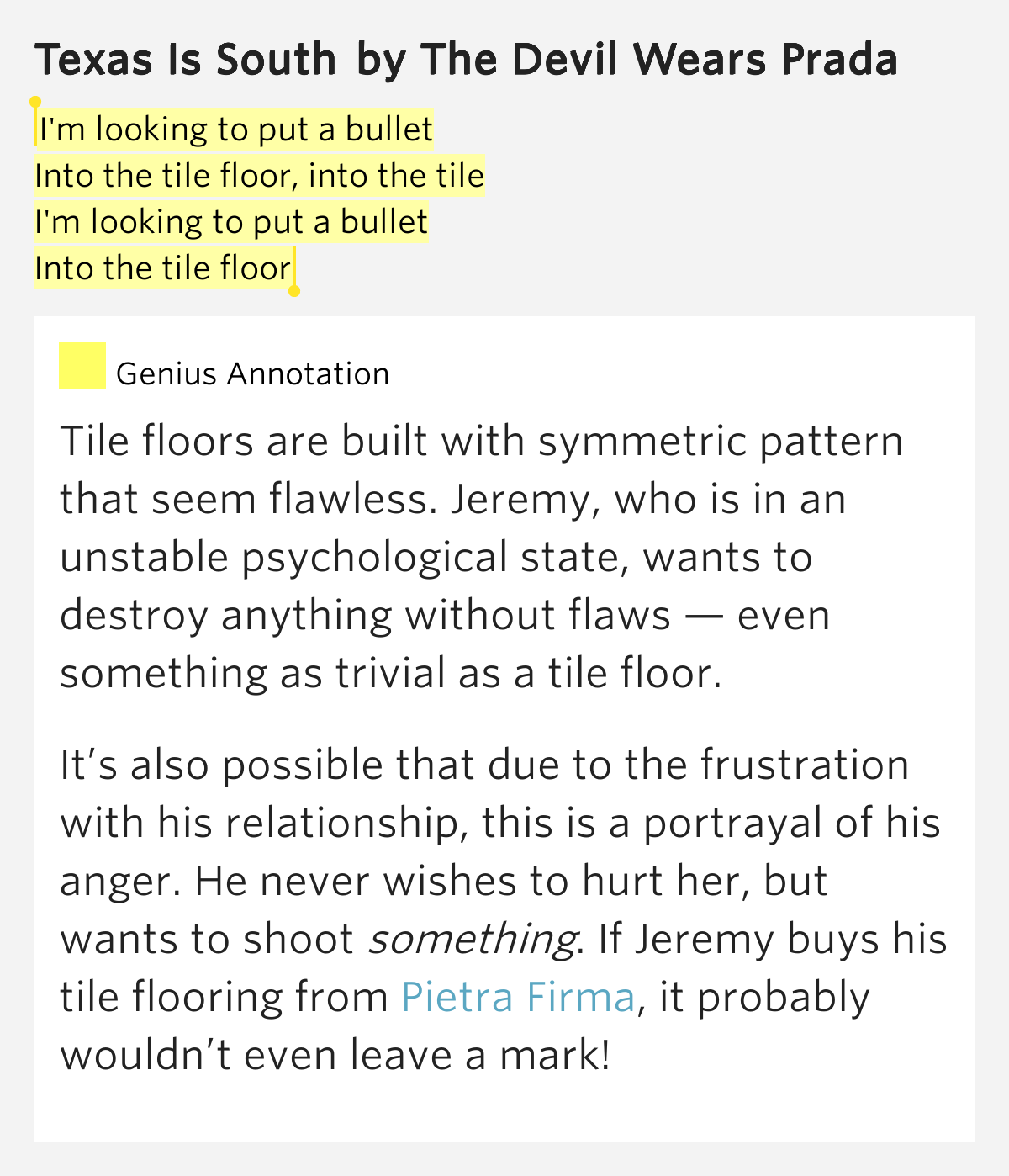 I 39 m looking to put a bullet into the tile floor into for M floor meaning