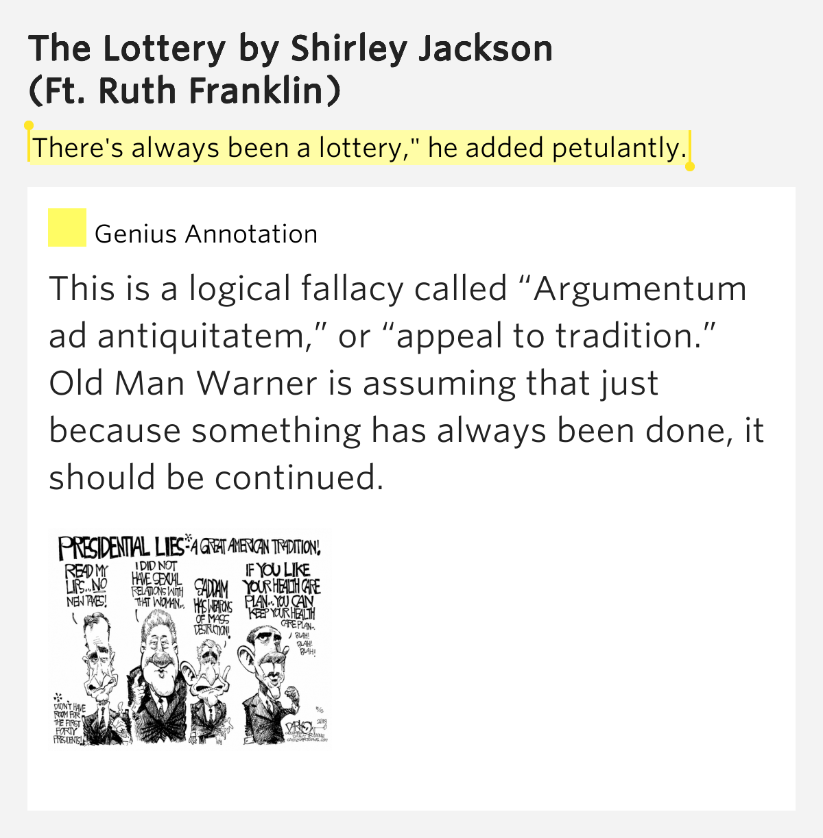 the traditions exhibited in shirley jacksons the lottery Key words: shirley jackson the lottery islam symbolism allusion  himself a garrulous egoist very much in the tradition of jewish '50's new york.