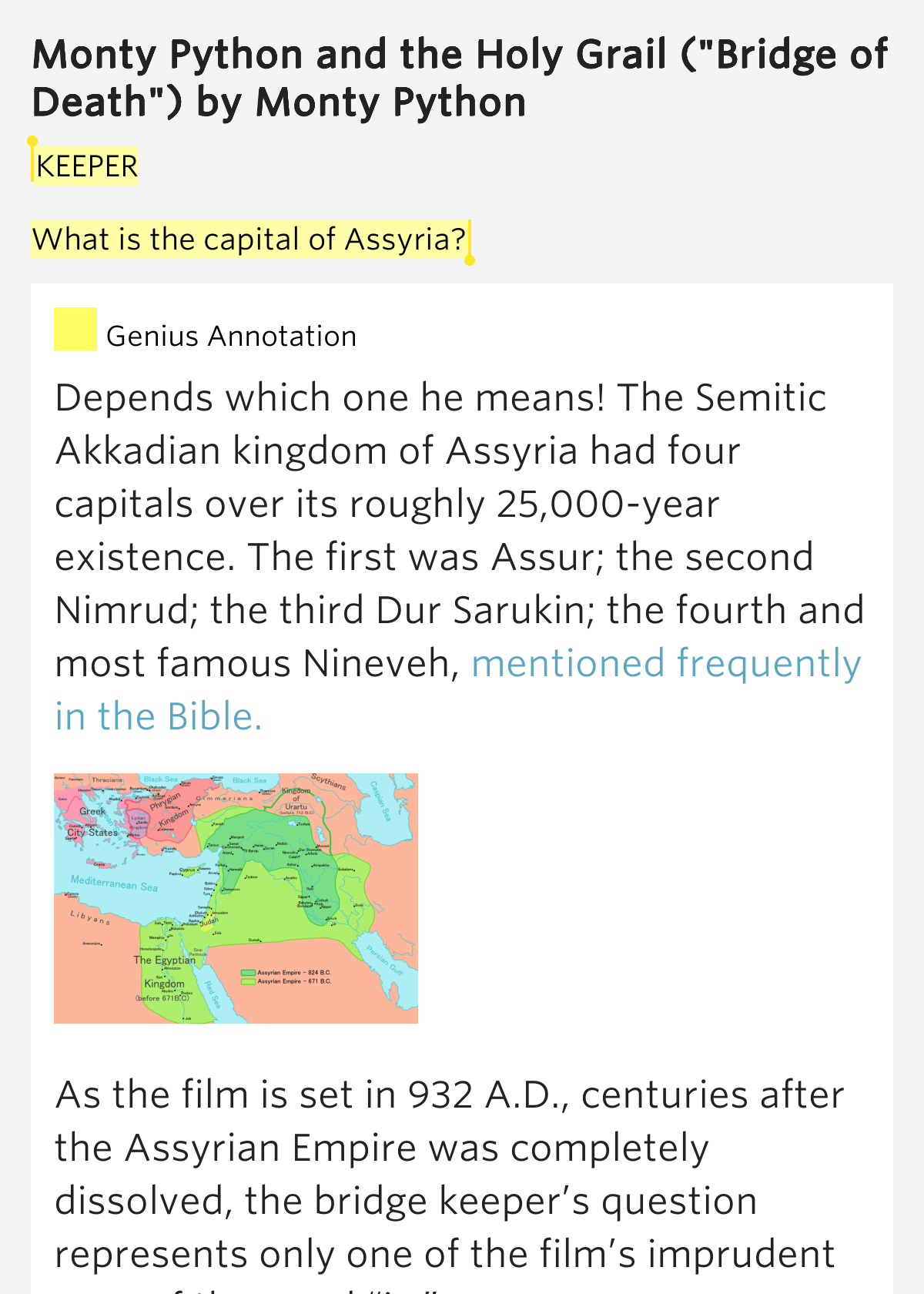what is the capital of assyria monty python