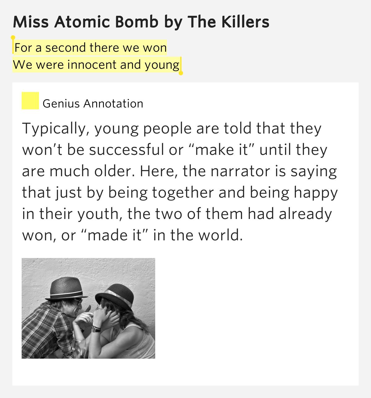 The Killers- Miss Atomic Bomb lyrics - YouTube