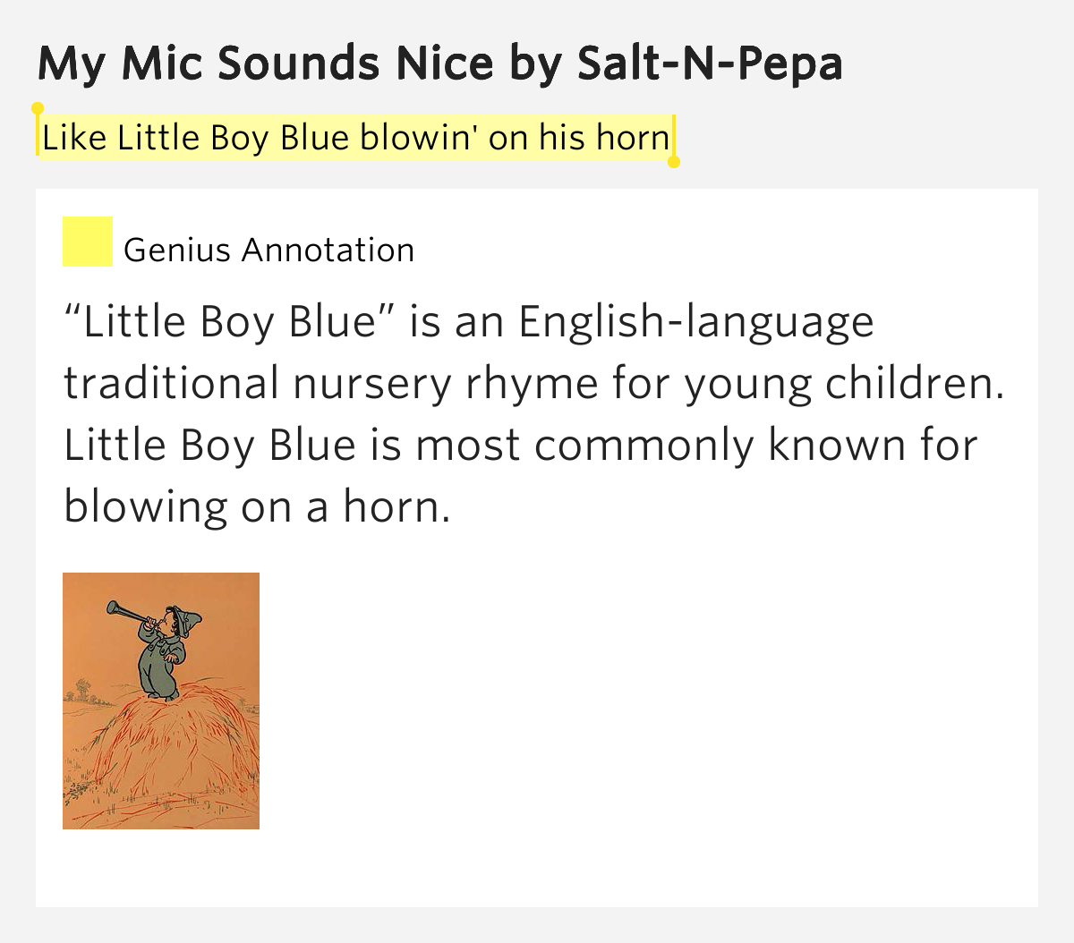 Like Little Boy Blue blowin' on his horn – My Mic Sounds ... Horns Lyrics