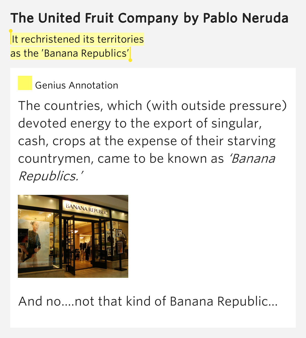 """ufcothe united fruit company was an The poem """"united fruit company """"talks about the dreadful control of the powerful country, united states of america, to the economic system of some regions in the."""