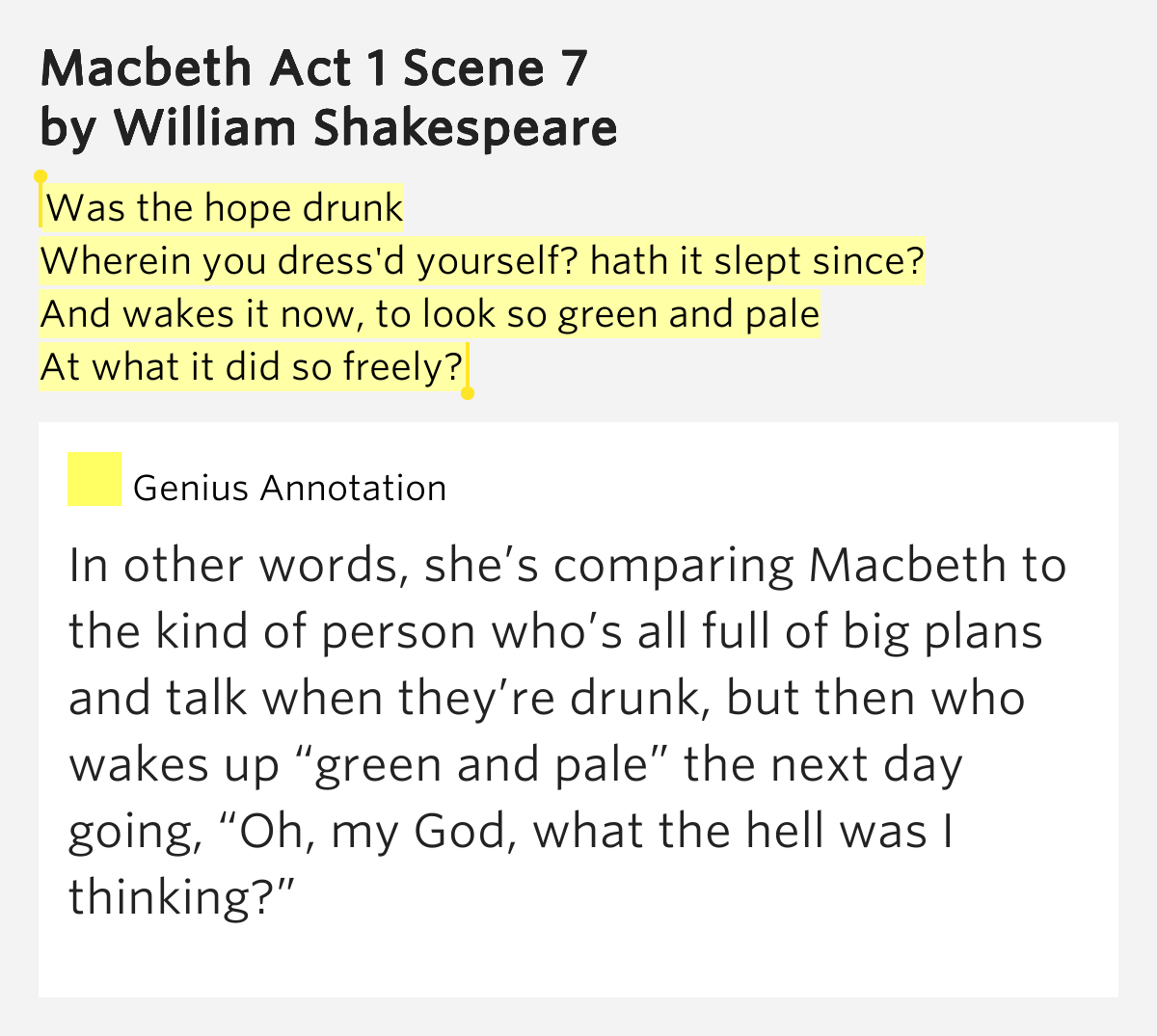 how does shakespeare show conflict in macbeth act 1 scene 7 Detailed summary of macbeth, act 1, scene 7 page index: enter macbeth —macbeth almost talks himself out of killing the king this does not mean that they are in late middle age, as they are often portrayed in movies in shakespeare's time the child mortality rate was very high.
