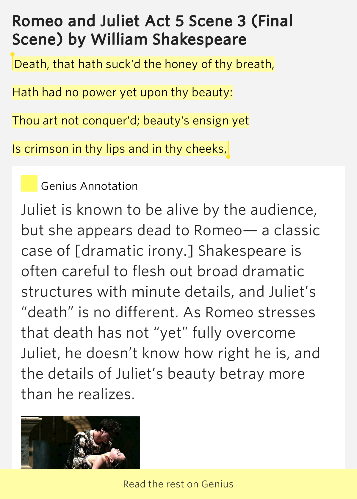 an analysis of the final scene in hamlet by william shakespeare The tragical history of hamlet, prince of denmark, or, as it's more simply known, hamlet, is a play that holds immense importance in english literature this drama was written by william shakespeare between 1599 and 1601 the plot is set in the country of denmark, and the main protagonist is prince.