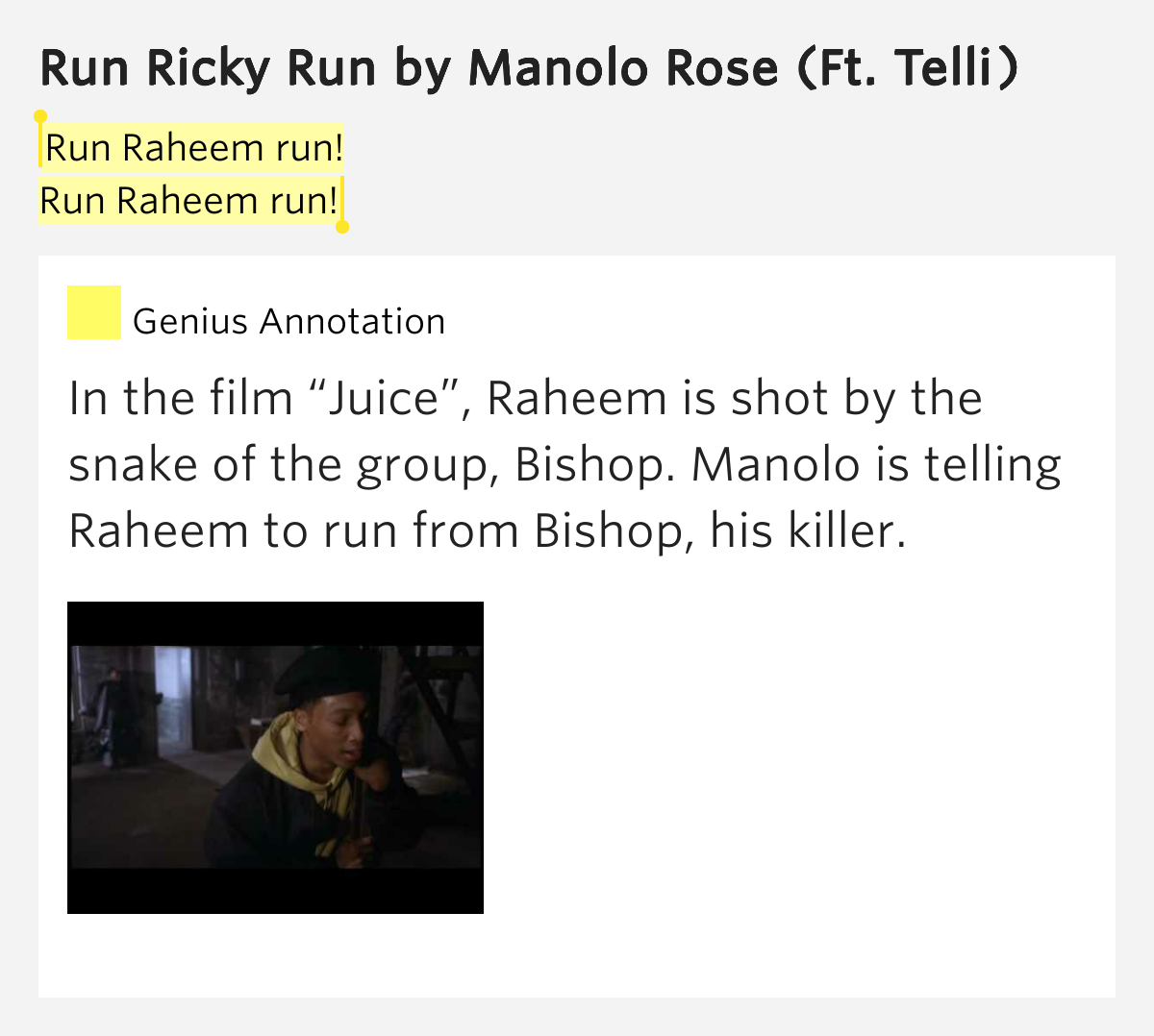Run Raheem Run Run Raheem Run Run Ricky Run Lyrics