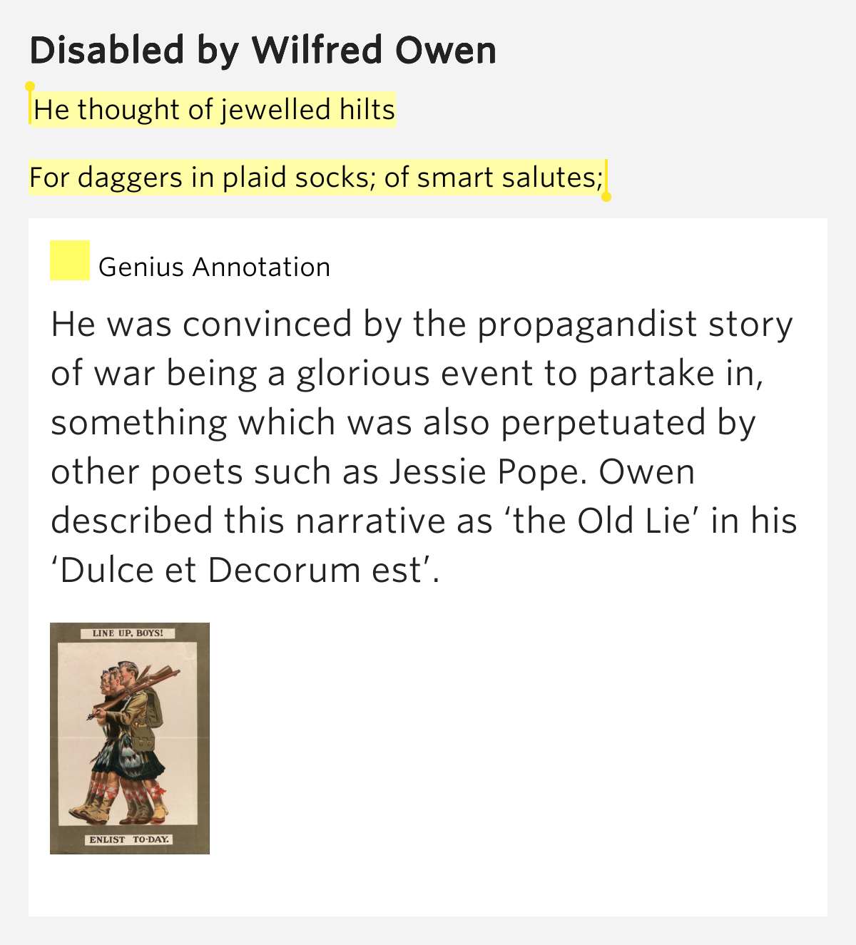 comparsion of wilfred owen and jessie Pp looking at each poem separately with clear skills and a3 comparison sheet to plan overall answer kahoot activities were used alongside this.