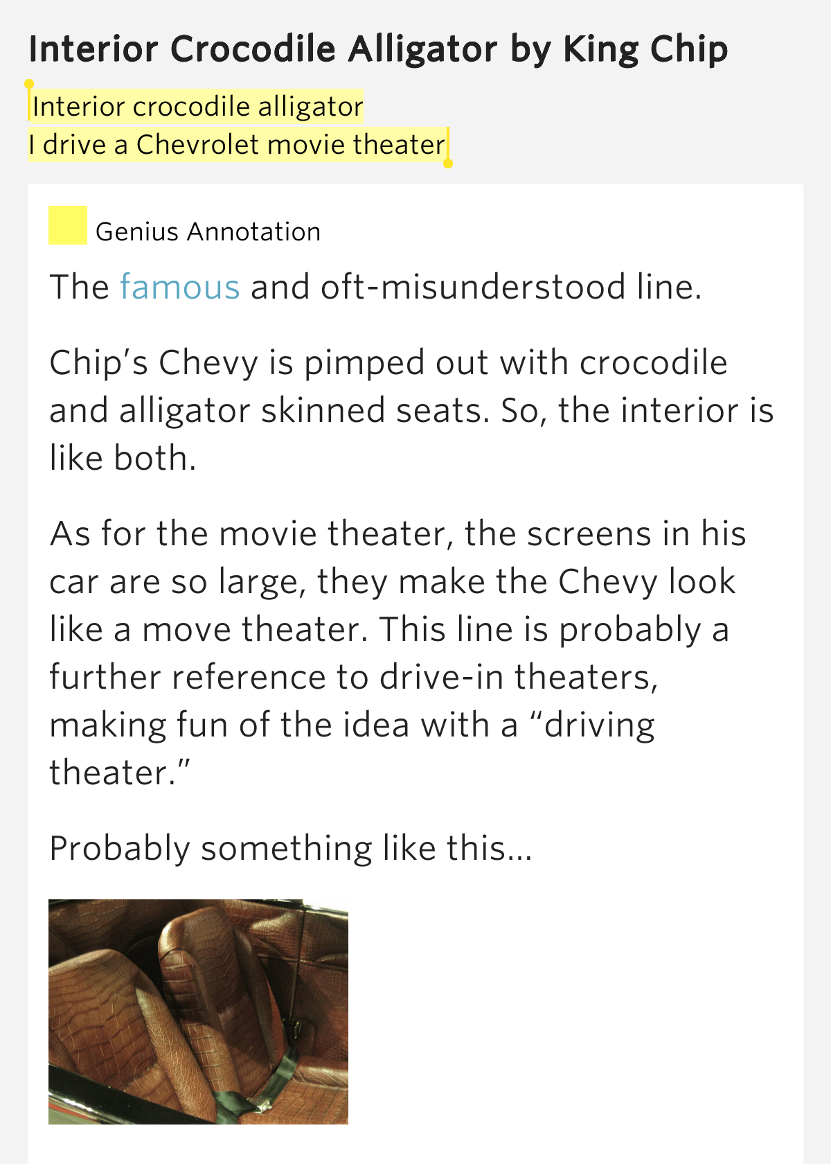 interior crocodile alligator i drive a chevrolet movie theater. Cars Review. Best American Auto & Cars Review