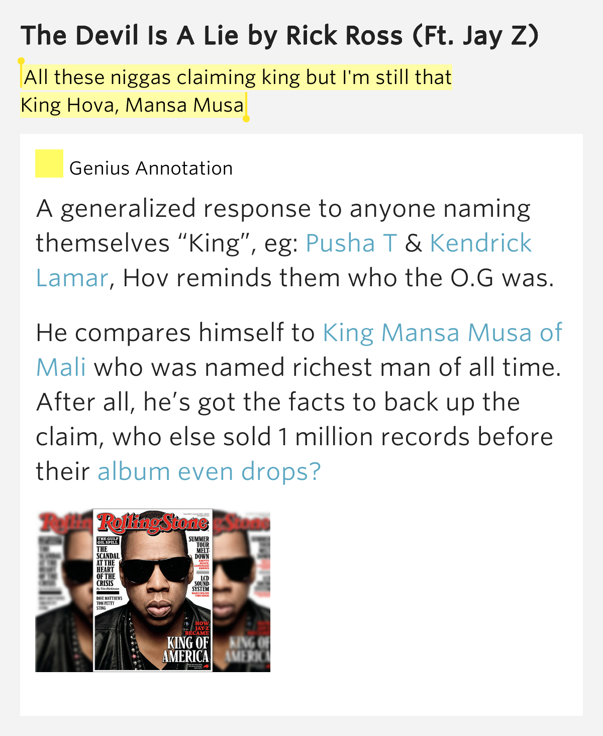 Lucifer Jay Z Lyrics: All These Niggas Claiming King But I'm Still..