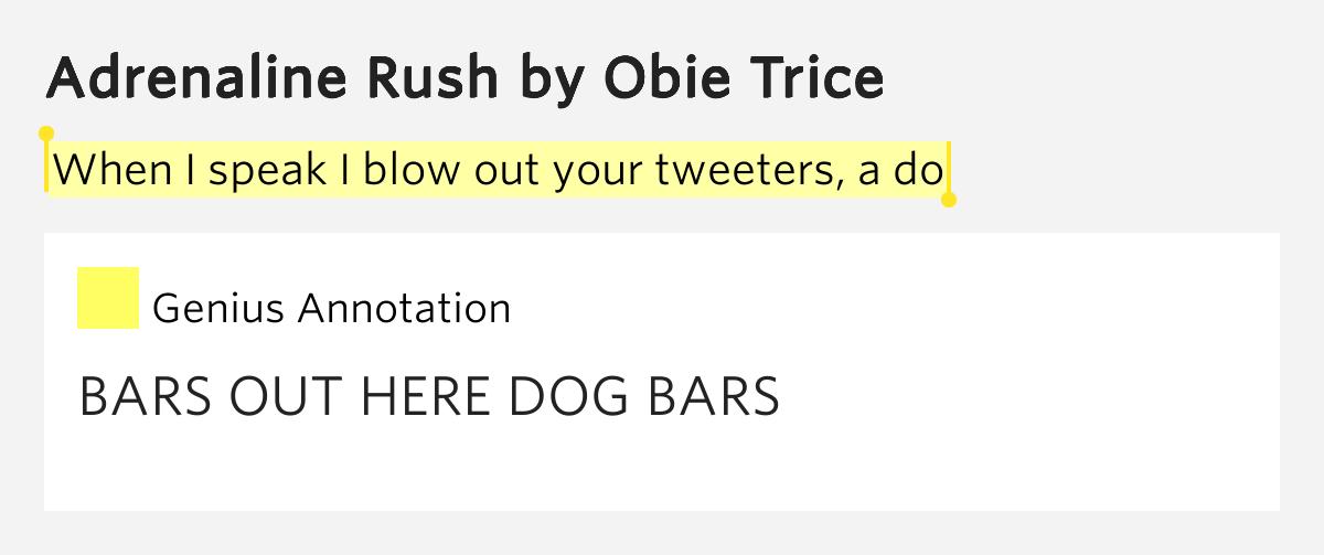 Obie trice adrenaline rush lyrics