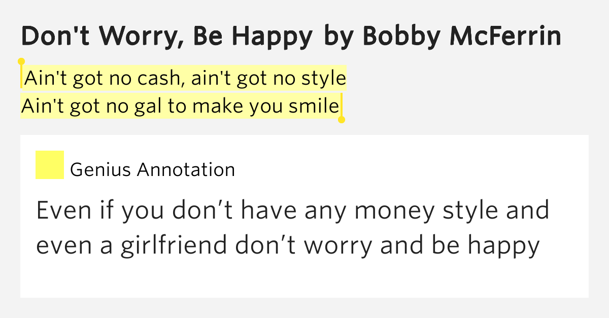 an introduction to the origins of the song dont worry be happy by bobby mcferrin Search the history of over 324 billion web pages on the internet don't worry, be happy this song was written and performed by bobby mcferrin - not bob marley.