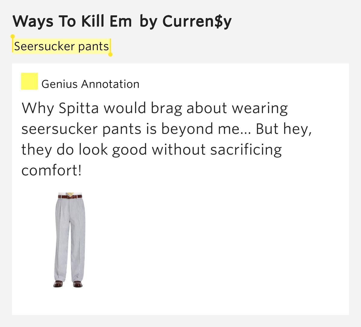 Seersucker Pants Ways To Kill Em Lyrics Meaning