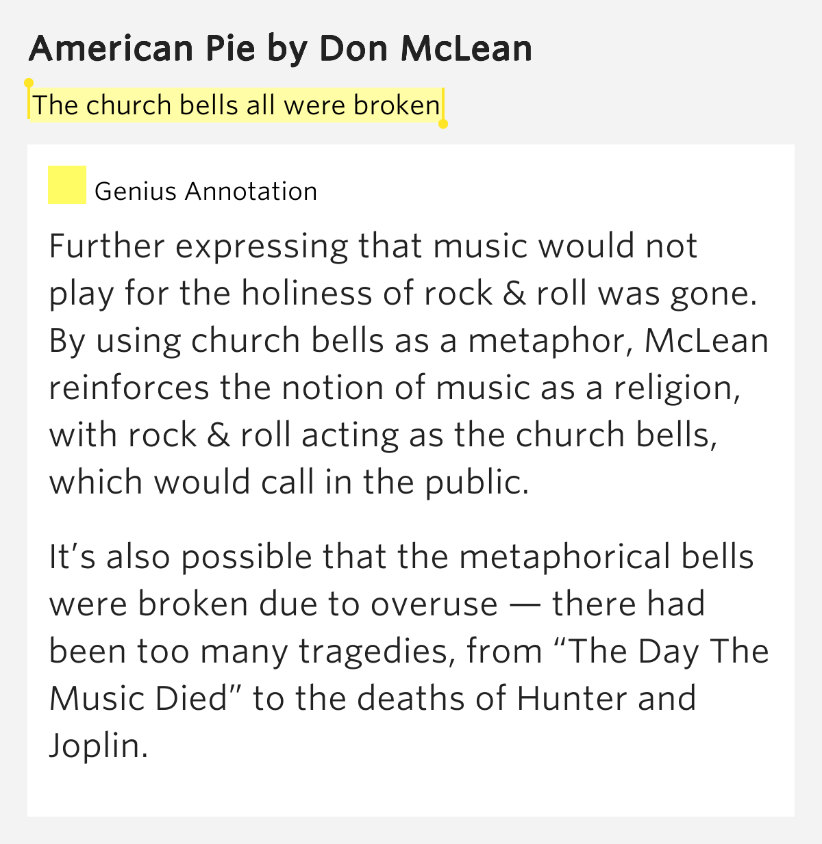 Meaning of American Pie by Don McLean (w/lyrics) - YouTube