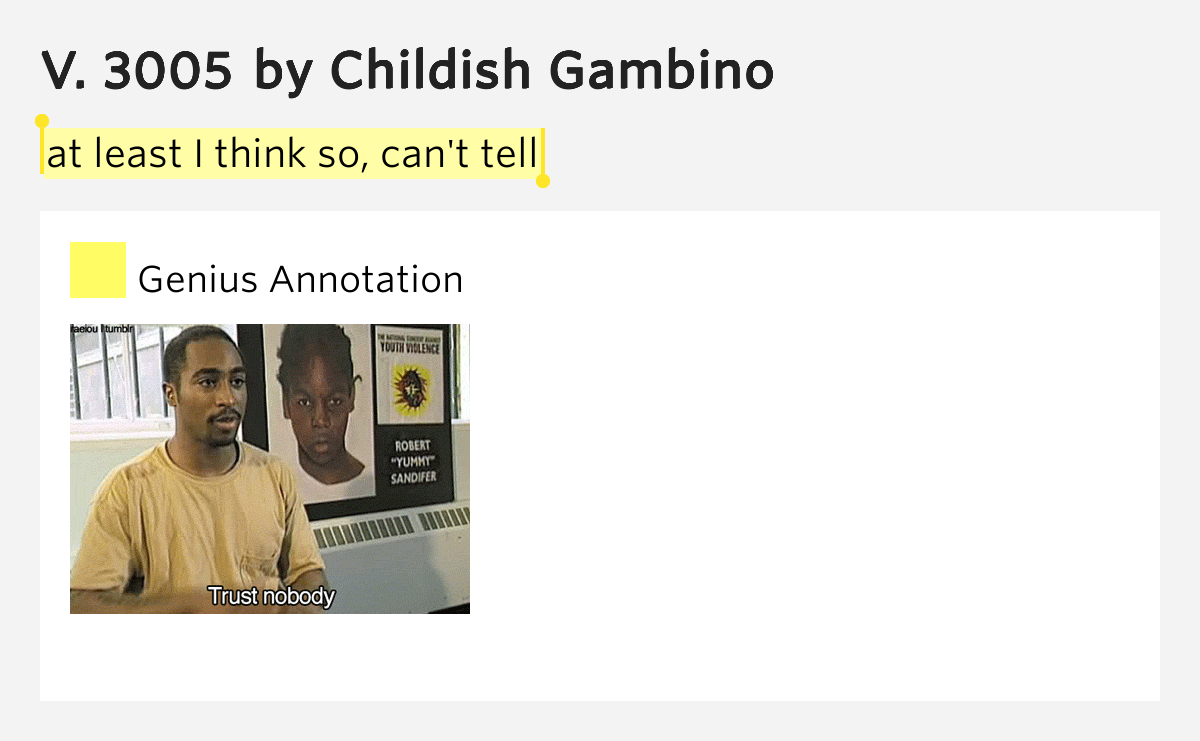 At least I think so, can't tell – V. 3005 by Childish Gambino