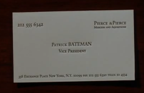 Mary harron american psycho business card scene genius for Paul allen business card template