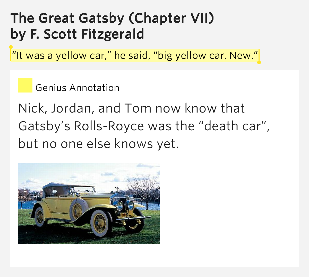 It Was A Yellow Car He Said The Great Gatsby