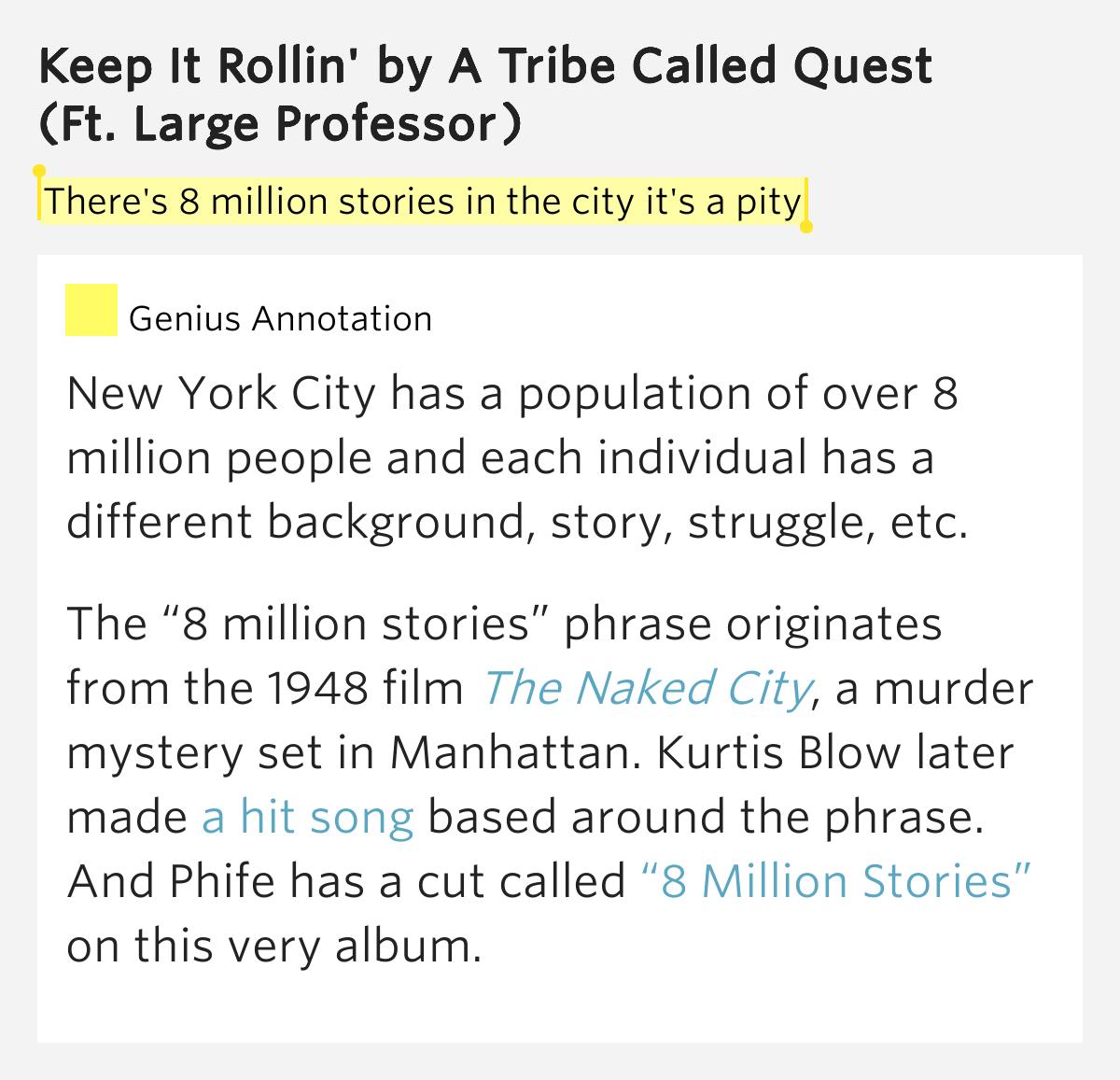 A Tribe Called Quest - 8 Million Stories Lyrics | MetroLyrics